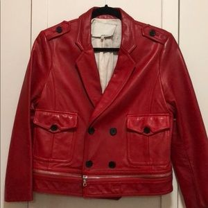 Phillip Lim red leather jacket with zipper